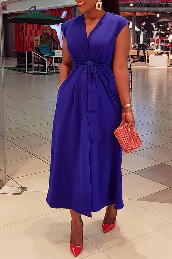 Dress Lovely Stylish V Neck Lace-up Blue Ankle Length Dress