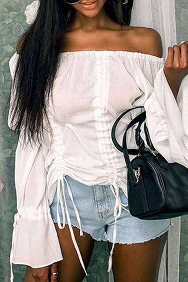 Lovely Trendy Dew Shoulder Drawstring White Blouse
