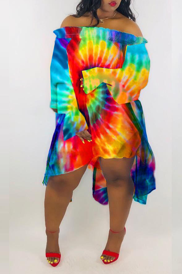 Lovely Casual Asymmetrical Printed Multicolor Knee Length Dress
