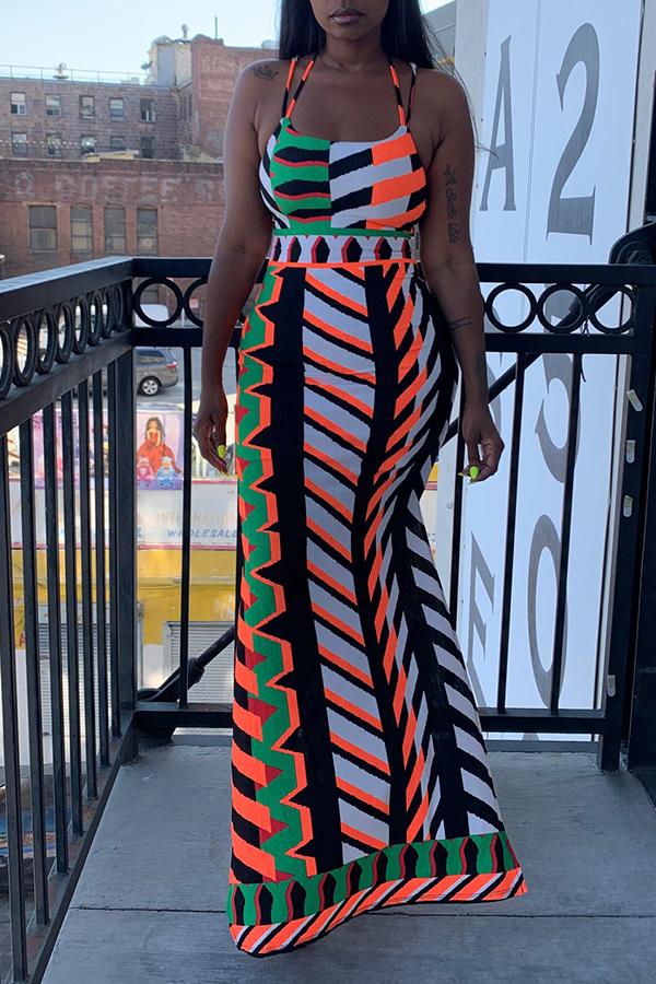 Lovely Geometric Printed Multicolor Floor Length Dress