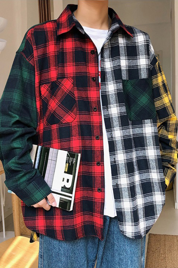 Lovely Trendy Turndown Collar Patchwork Red And Black Check Shirt