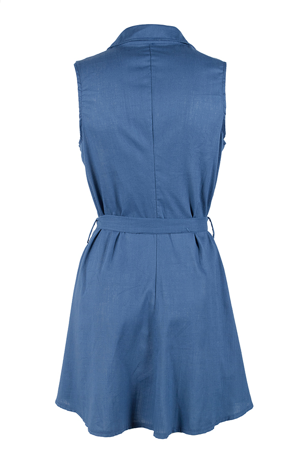Lovely Casual Lace-up Drape Design Blue Denim Mini A Line Dress
