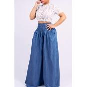 Lovely Stylish High Waist Drape Design Deep Blue J