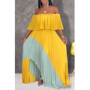 Lovely Stylish Off The Shoulder Patchwork Yellow F