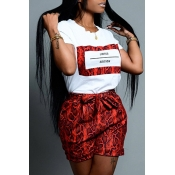 Lovely Casual O Neck Snakeskin Pattern Printed Red