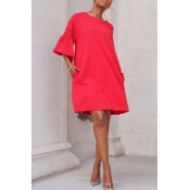 Lovely Sweet O Neck Flare Sleeve Red Knee Length A