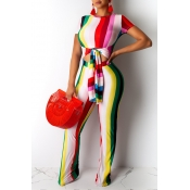 Lovely Casual O Neck Striped Bandage Red One-piece