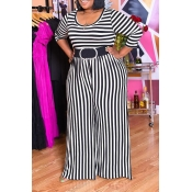 Lovely Casual V Neck Striped Multicolor Plus Size