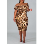 Lovely Stylish Off The Shoulder Leopard Printed Kn