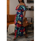 Lovely Bohemian Off The Shoulder Printed Multicolo