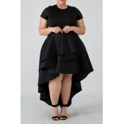 Lovely Stylish O Neck Asymmetrical Black Knee Leng
