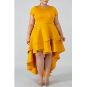 Lovely Stylish O Neck Asymmetrical Yellow Knee Len