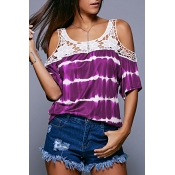 Lovely Casual O Neck Off The Shoulder Hollow-out P