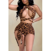 Lovely Sexy Halter Neck Leopard Printed Hollow-out