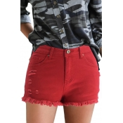 Lovely Stylish Broken Holes Red Denim Shorts