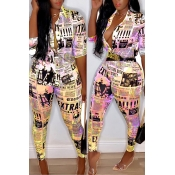 Lovely Casual V Neck Letter Printed Yellow Two-piece Pants Set(Without Belt)