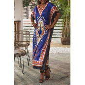 Lovely Bohemian Batwing Sleeves Blue Ankle Length