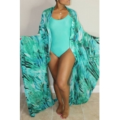 Lovely Sexy U Neck Printing Green One-piece Swimwear(With Cover-up)