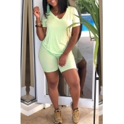 Lovely Casual V Neck Light Green Two-piece Shorts