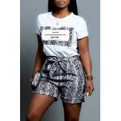 Lovely Casual O Neck Snakeskin Pattern Printed Black Two-piece Shorts Set