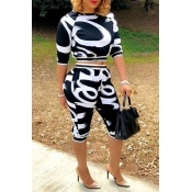 Lovely Casual O Neck Printed Black Two-piece Short