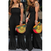 Lovely Sexy Spaghetti Straps Black One-piece Jumpsuit