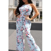 Lovely Bohemian Floral Printed Baby Blue Two-piece