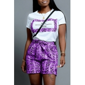 Lovely Casual O Neck Snakeskin Pattern Printed Purple Two-piece Shorts Set