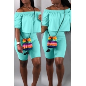 Lovely Casual Off The Shoulder Baby Blue Two-piece
