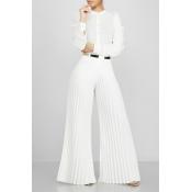 Lovely Stylish High Waist White Pants(Without Belt