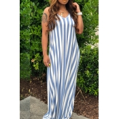 Lovely Casual Spaghetti Straps Striped Blue Floor