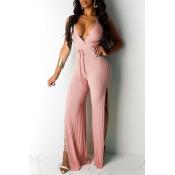 Lovely Sexy V Neck Backless Light Pink One-piece J