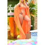 Lovely Deep V Neck Croci One-piece Swimwear(With Shawl)