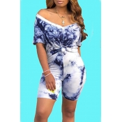 Lovely Casual V Neck Navy Blue Two-piece Shorts Se