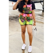 Lovely Leisure Animal Printed Black Two-piece Shor