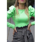 Lovely Casual O Neck Hubble-bubble Sleeve Green Bl