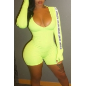 Lovely Casual V Neck Letter Printed Green One-piece Romper