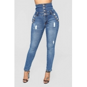 Lovely Trendy Buttons Decorative Deep Blue Jeans
