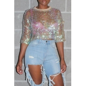 Lovely Casual See-through Multicolor T-shirt(Witho