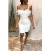 Lovely Sexy Spaghetti Straps Patchwork White Mini Dress