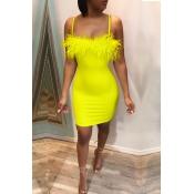 Lovely Sexy Spaghetti Straps Patchwork Yellow Mini Dress