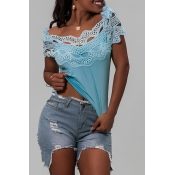 Lovely Casual Off The Shoulder Patchwork Blue Blou
