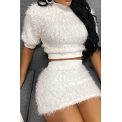 Lovely Casual O Neck White Two-piece Skirt Set