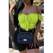 Lovely Trendy Off The Shoulder Light Green Blouse