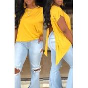 Lovely Casual O Neck Asymmetrical Split Yellow T-s