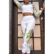 Lovely Street Patchwork White Two-piece Pants Set