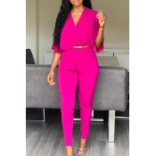 Lovely Chic V Neck Rose Red One-piece Jumpsuit(Wit