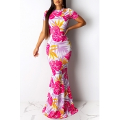 Lovely Sweet Hollow-out Printed Pink Floor Length