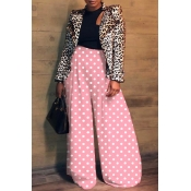 Lovely Casual Dot Printed Loose Pink Pants