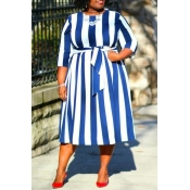 Lovely Casual Striped Blue Mid Calf Plus Size Dres